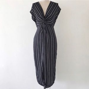 Urban Outfitters XS Midi Dress Striped Cap Sleeve